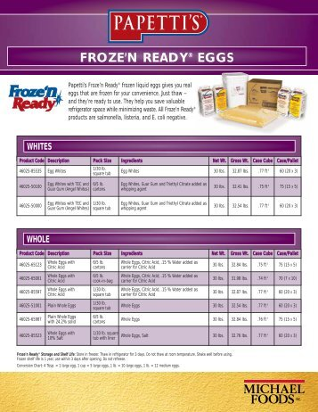 froze'n Ready® EGGS MIXES - Michael Foods