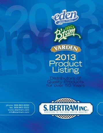 Product Listing - S. Bertram, Inc