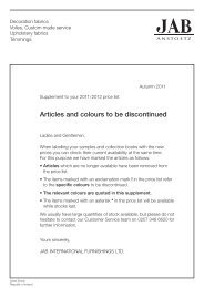 Articles and colours to be discontinued