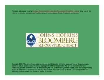 Copyright 2009, The Johns Hopkins University and Joel ... - jhsph ocw