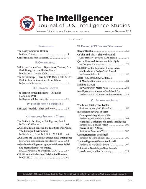 AFIO Intelligencer - Association of Former Intelligence Officers