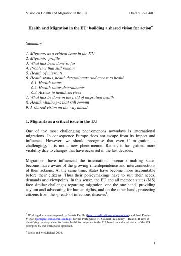Health and Migration in the EU: building a shared vision for action ...
