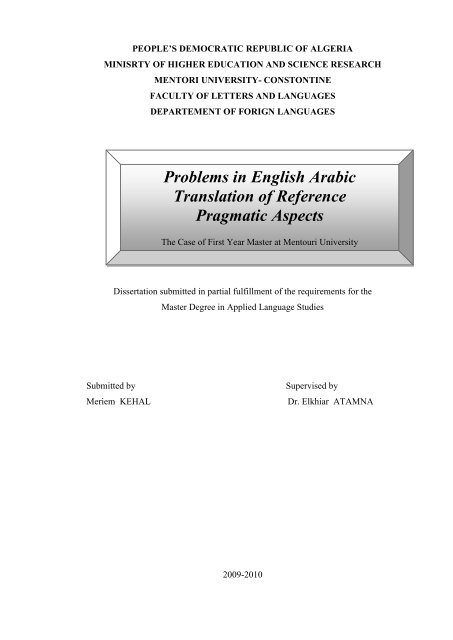 Problems in English Arabic Translation of Reference Pragmatic