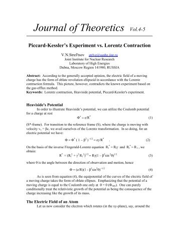 PICCARD-KESSLER'S EXPERIMENT - Journal of Theoretics
