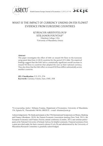 WHAT IS THE IMPACT OF CURRENCY UNIONS ON FDI ... - asecu.gr