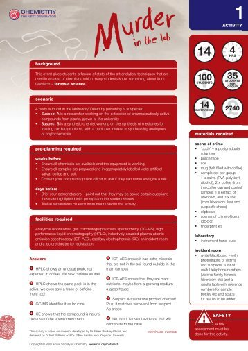 Activity 1 - Murder in the Lab - Royal Society of Chemistry
