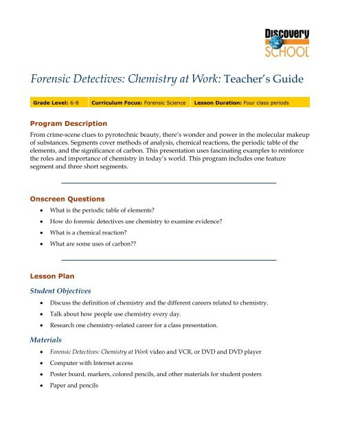Forensic Detectives Chemistry At Work Discovery Education