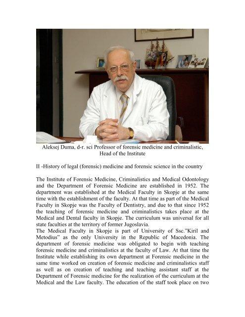 Aleksej Duma D R Sci Professor Of Forensic Medicine And