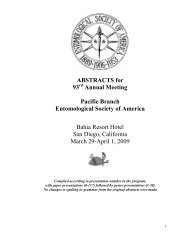 2009 Abstracts - Entomological Society of America