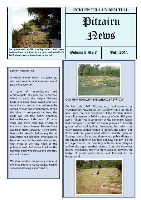 Pitcairn News Dem Tull