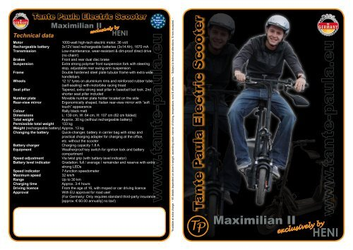 T ante P aula Electric Scooter - Tante Paula Elektroroller