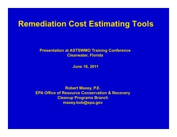 Remediation Cost Estimating Tools Remediation Cost ... - ASTSWMO