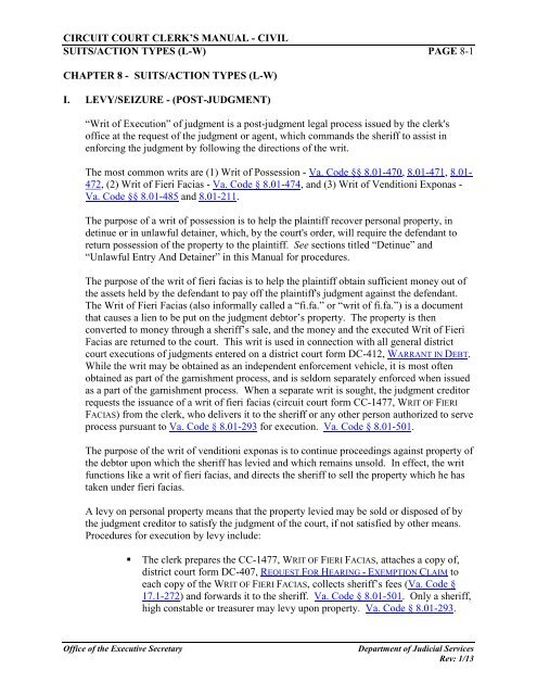 circuit court clerk's manual - Virginia's Judicial System
