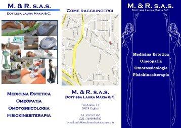 Brochure informativa dello Studio Medico M. & R. - Dr.ssa Laura Maxia