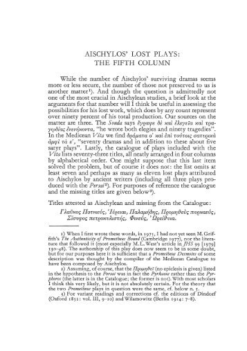 AISCHYLOS' LOST PLAYS: THE FIFTH COLUMN