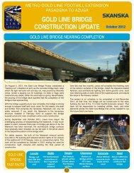 2012 Fall - I-210 Bridge Construction Newsletter - Metro Gold Line