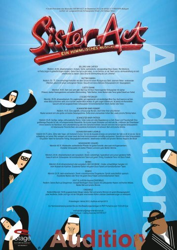 Sister Act Auditionausschreibung 2012 deutsch english