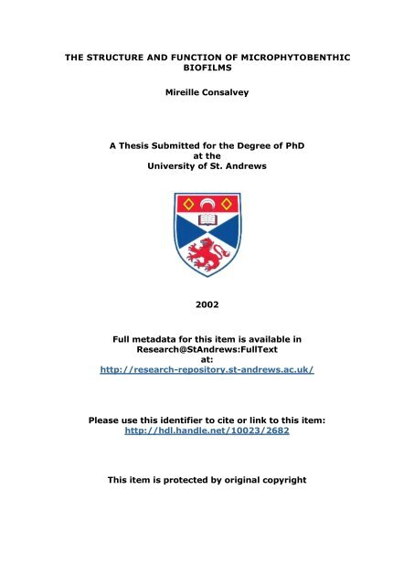 Mireille Consalvey PhD Thesis - University of St Andrews