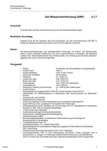 Oel-/Wasserwehrfahrzeug (OWF) 4.1.7 - GVZ