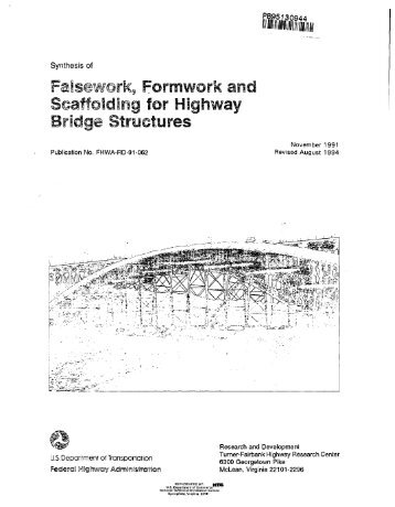 Falsework, Formwork and Scaffolding for Highway Bridge Structures