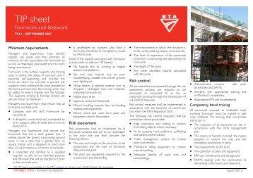 TIP sheet T013 - Formwork and falsework - RTA