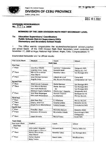 I DEC 012005;w - DepEd Cebu Province