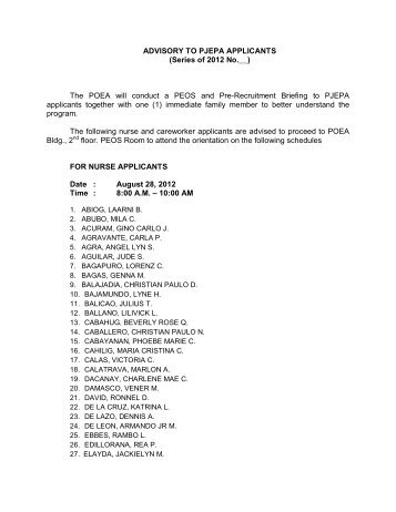 ADVISORY TO PJEPA APPLICANTS (Series of 2012 No.__) The ...
