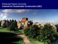 Edinburgh Napier University Institute for Sustainable Construction ...