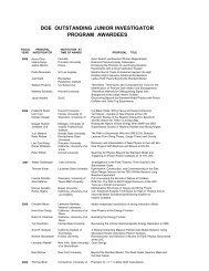 doe outstanding junior investigator program awardees