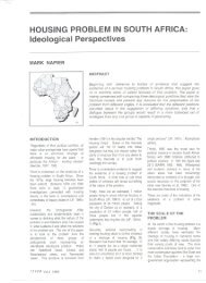 HOUSING PROBLEM IN SOUTH AFRICA: Ideological Perspectives - Research
