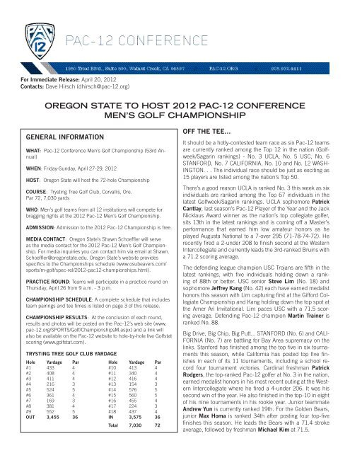 oregon state to host 2012 pac-12 conference men's ... - Community
