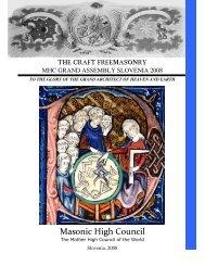 THE CRAFT FREEMASONRY Masonic High Council