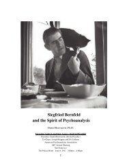 Siegfried Bernfeld and the Spirit of Psychoanalysis - International ...