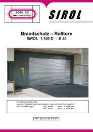 Brandschutz – Rolltore SIROL 1.100 D - E 30 - ROTH AG ...