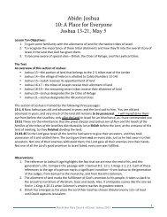 Abide: Joshua 10: A Place for Everyone Joshua 13-21, May 5