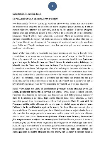 Exhortation Mi-Février 2013 - mevar