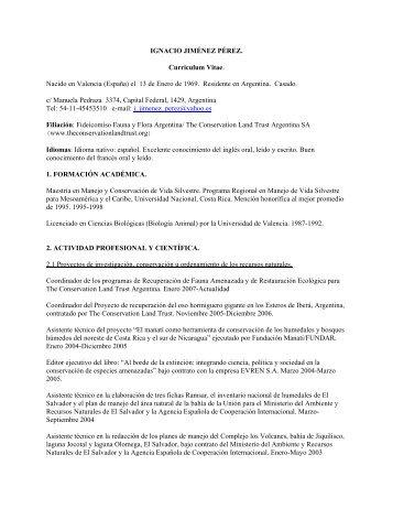 IGNACIO JIMÉNEZ PÉREZ. Curriculum Vitae ... - Proyecto Iberá