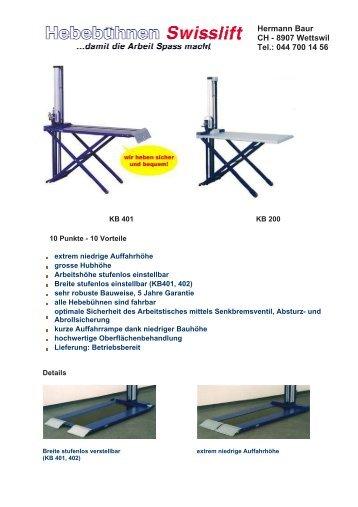 Prospekt Swisslift - bei Hermann Baur Wettswil