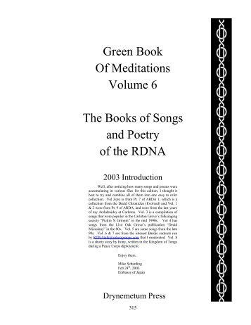 Green Book Of Meditations Volume 6 The Books of Songs - Student ...