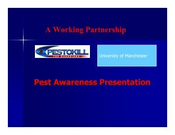 Pest awareness training University of Manchester - The University of ...