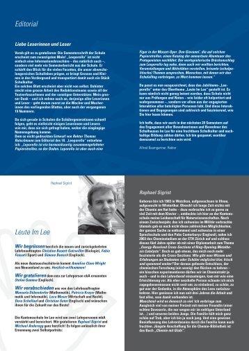 Editorial Leute Im Lee - Kantonsschule im Lee Winterthur
