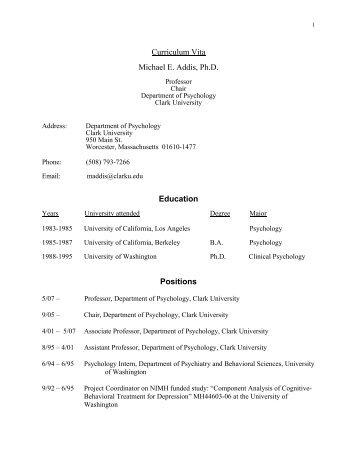 Curriculum Vita Michael E. Addis, Ph.D. Education ... - Clark University