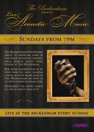 SUNDAYS FROM 7PM - The Beckenham