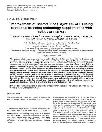 Improvement of Basmati rice - Academic Journals