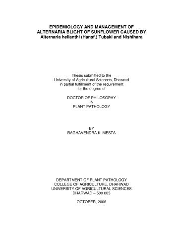 EPIDEMIOLOGY AND MANAGEMENT OF ALTERNARIA BLIGHT ...