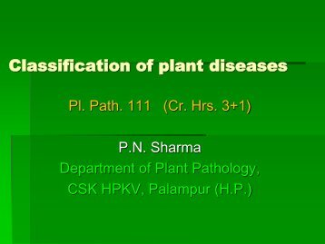 Lecture No. 1a:- Classification of plant diseases-111