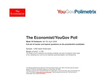 Full poll results for April 4th-7th 2008 - The Economist