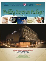 American Bank Center Wedding Reception Packages