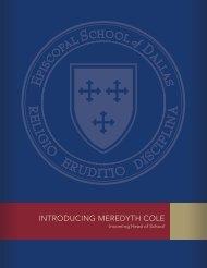 IntroducIng Meredyth cole - Episcopal School of Dallas
