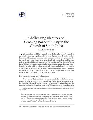 Unity in the Church of South India - Word & World - Luther Seminary